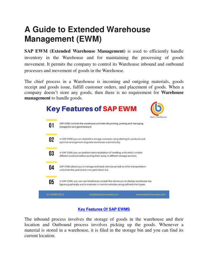 a guide to extended warehouse management ewm n.