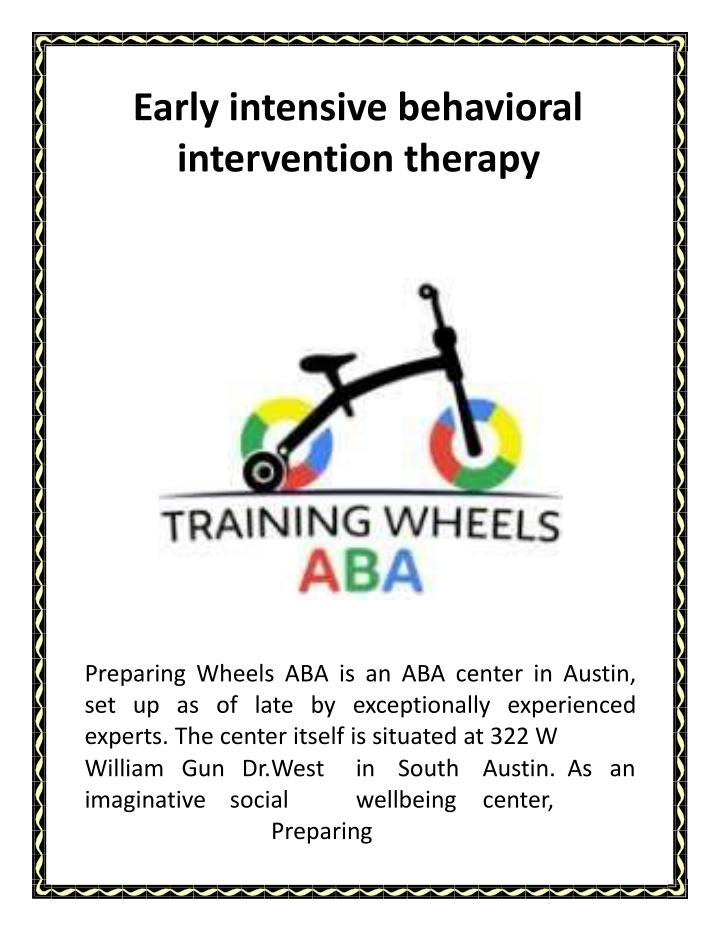 early intensive behavioral intervention therapy n.