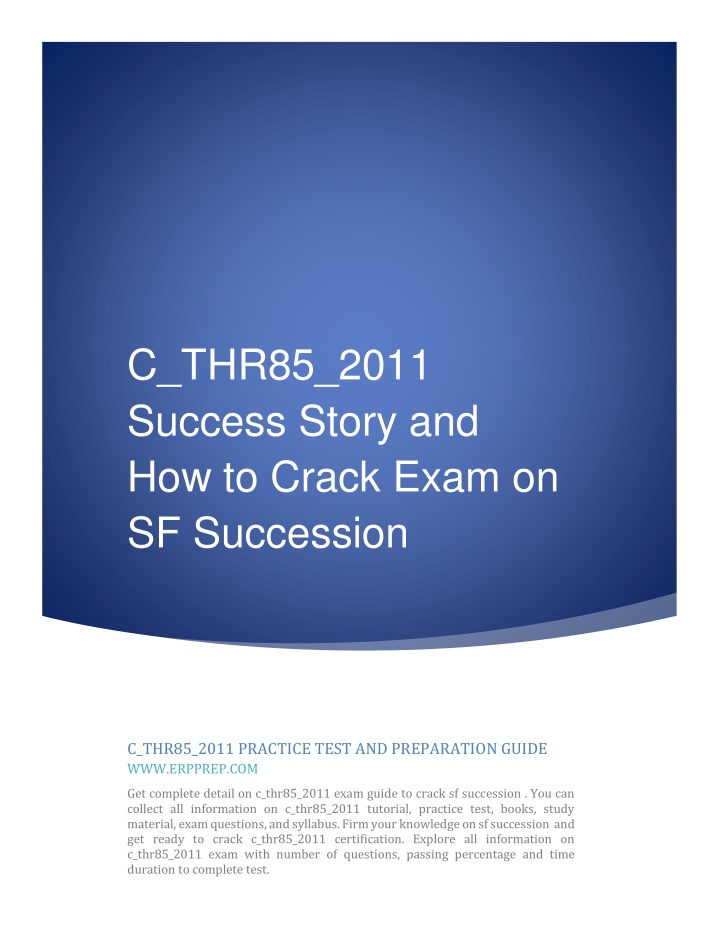 c thr85 2011 success story and how to crack exam n.