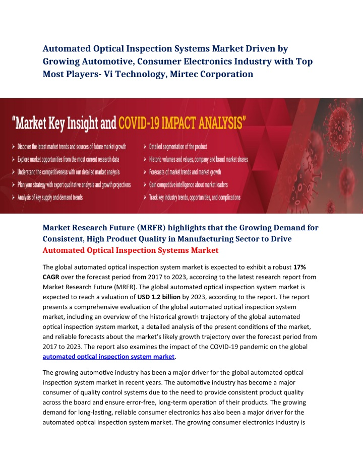 Automated Optical Inspection Systems Market