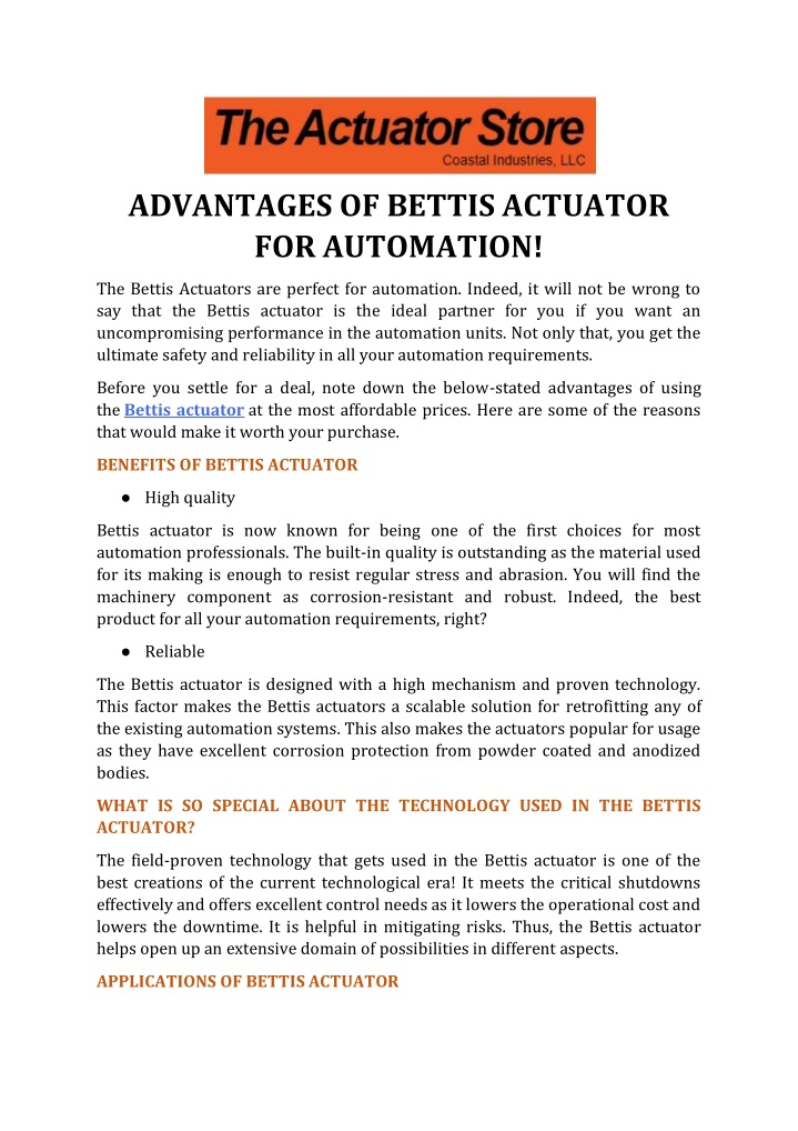 advantages of bettis actuator for automation n.