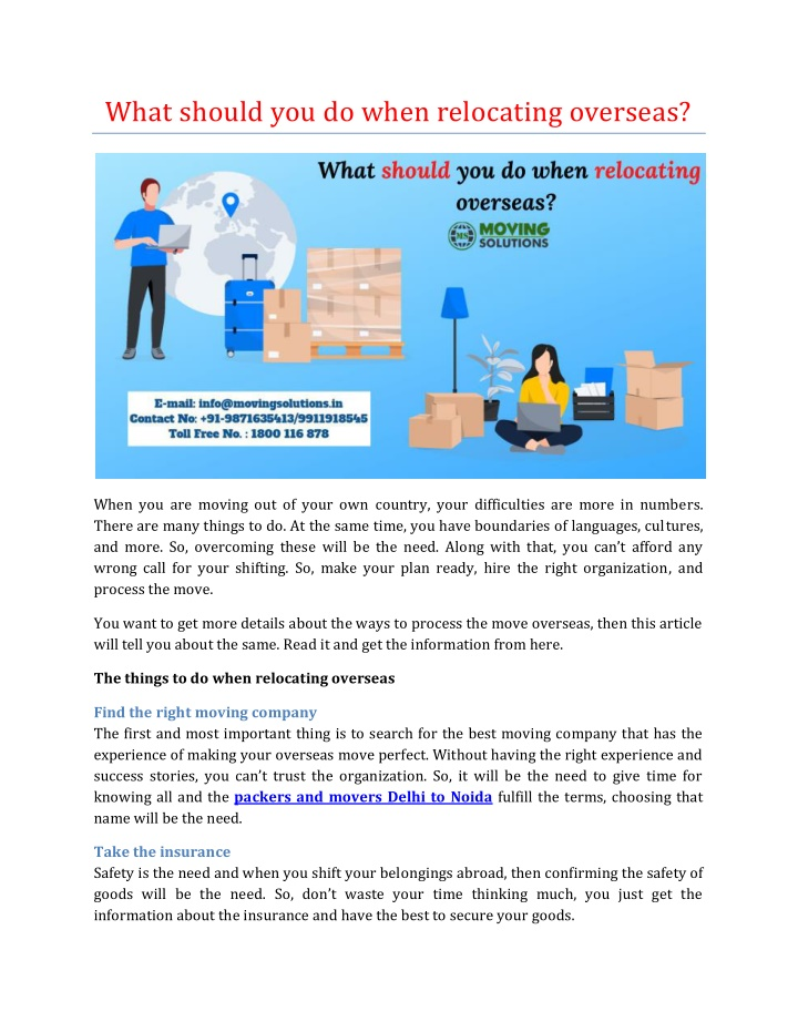 what should you do when relocating overseas n.
