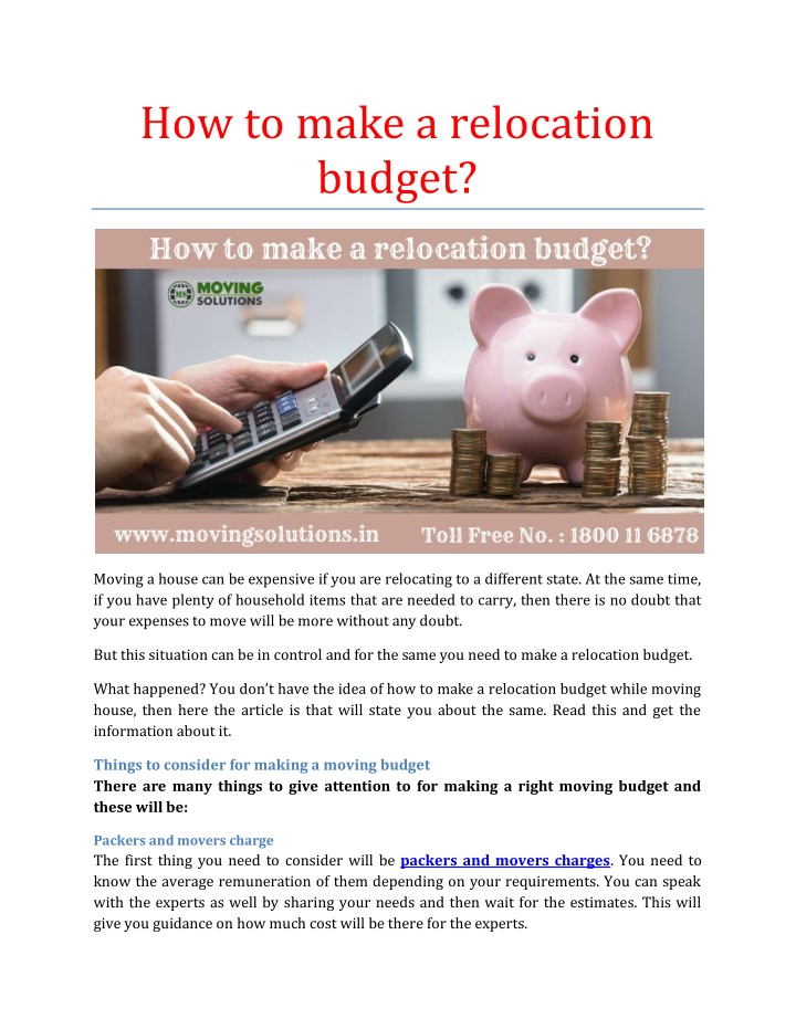 how to make a relocation budget n.