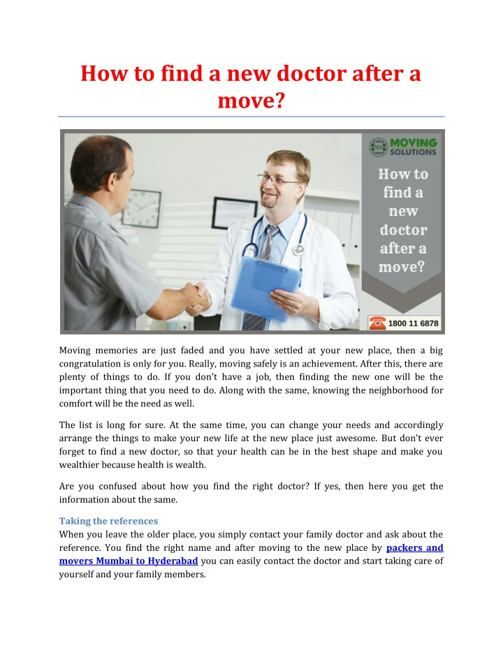 how to find a new doctor after a move n.