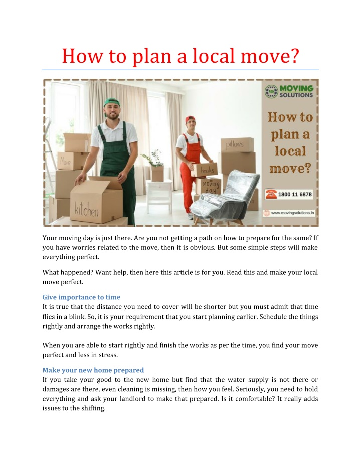 how to plan a local move n.