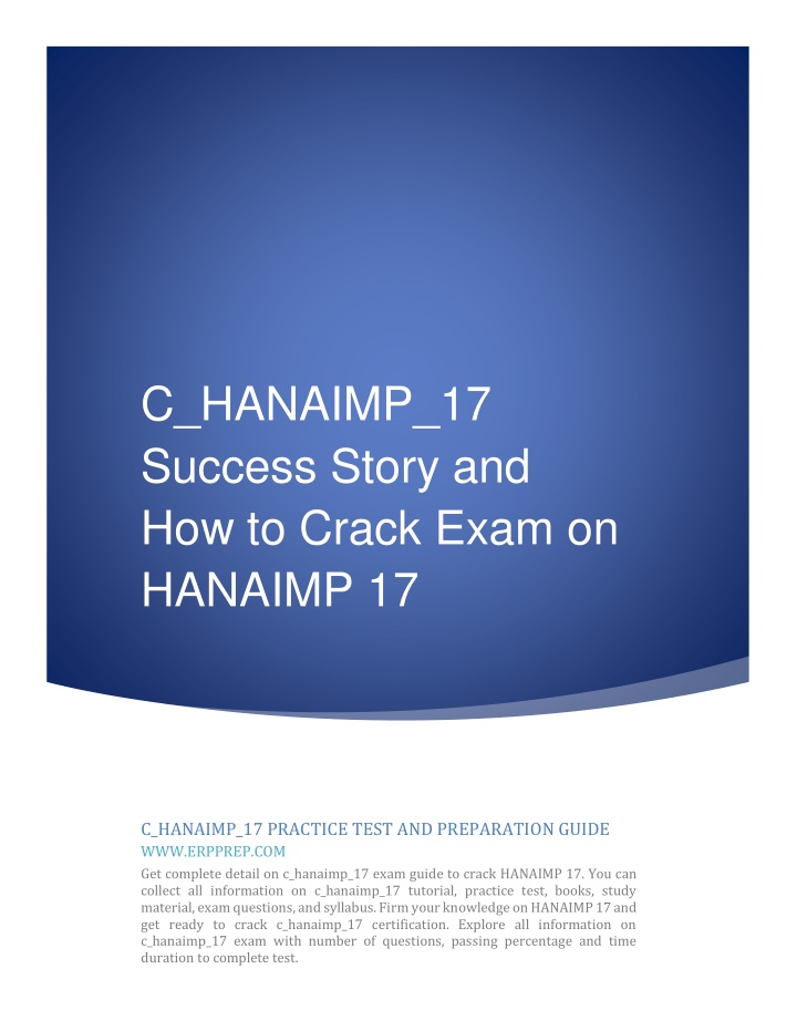 c hanaimp 17 success story and how to crack exam n.