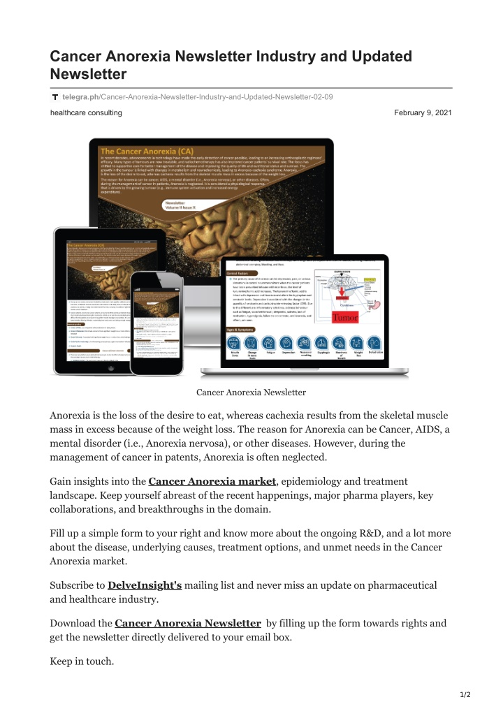 cancer anorexia newsletter industry and updated n.