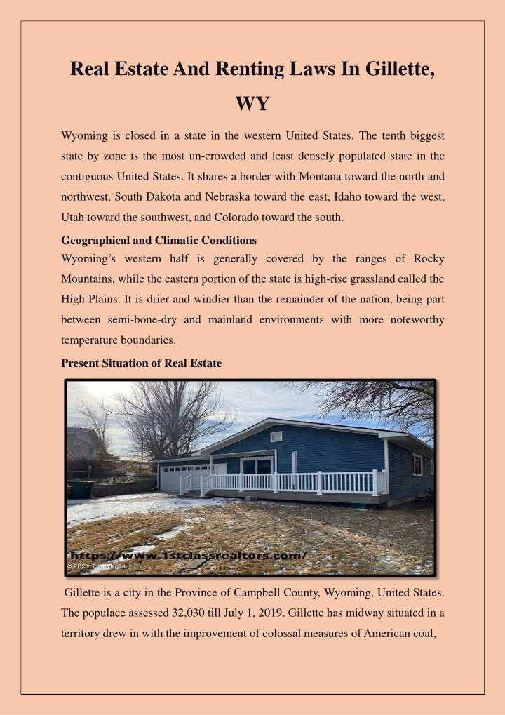 real estate and renting laws in gillette wy n.