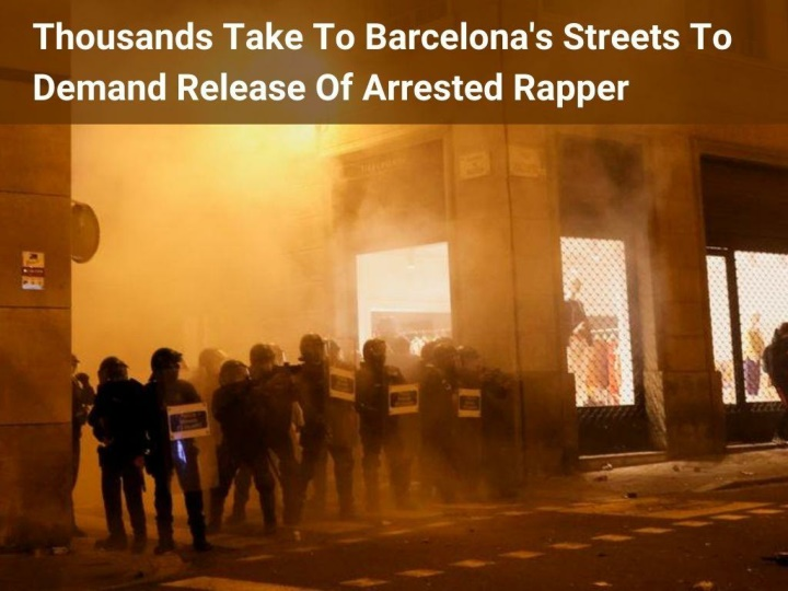 thousands take to barcelona s streets to demand release of arrested rapper n.