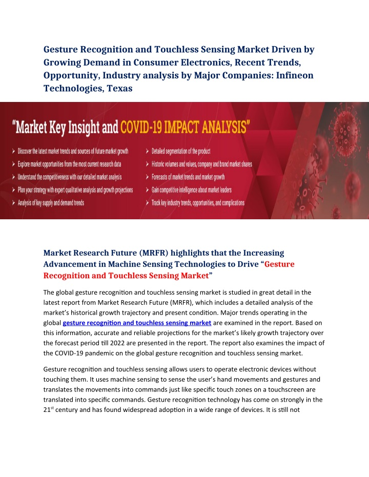 gesture recognition and touchless sensing market n.