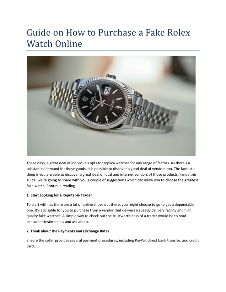 guide on how to purchase a fake rolex watch online n.