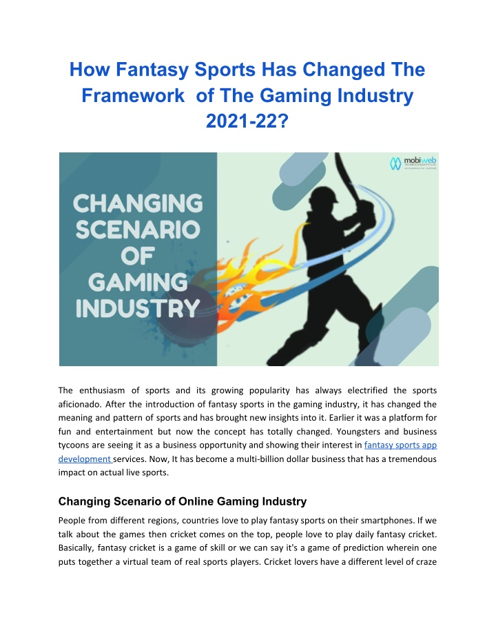 How Fantasy Sports Has Changed The Framework  of The Gaming Industry 2021-22