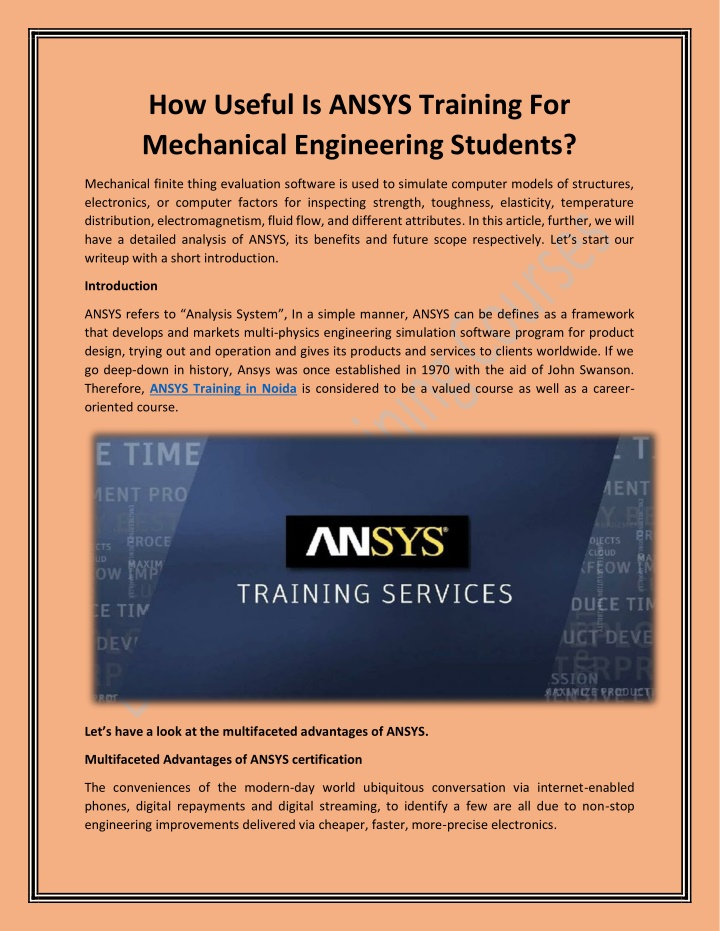 ANSYS Training For Mechanical Engineering Students