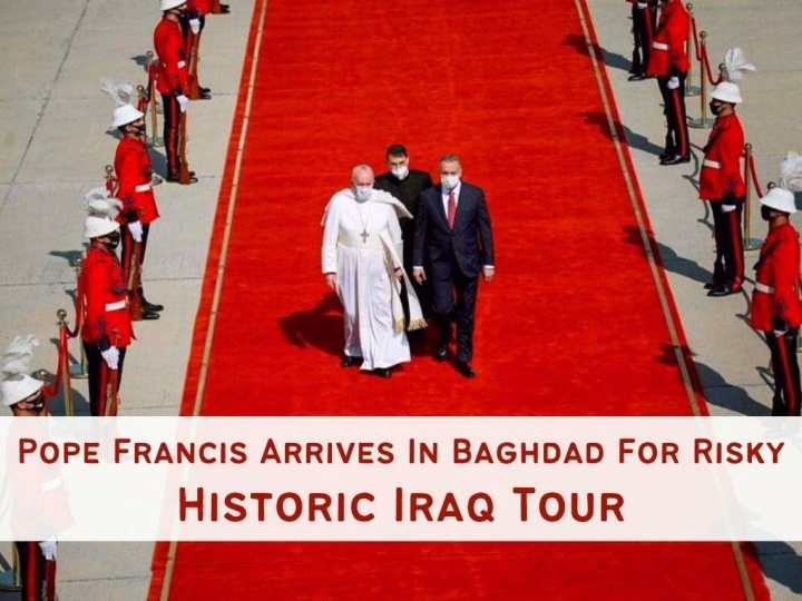 pope francis arrives in baghdad for risky historic iraq tour n.