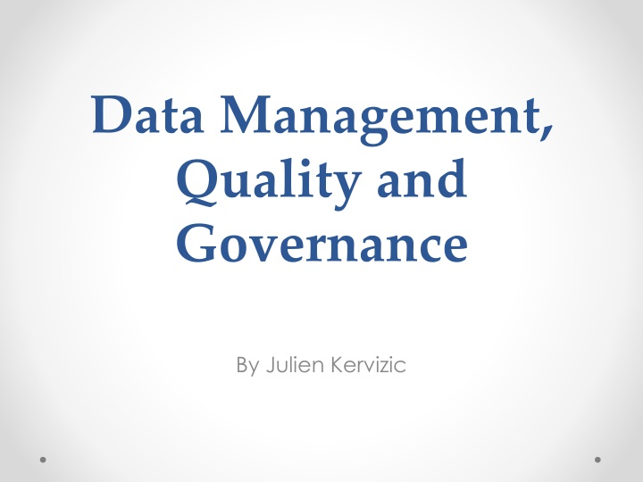 data management quality and governance n.