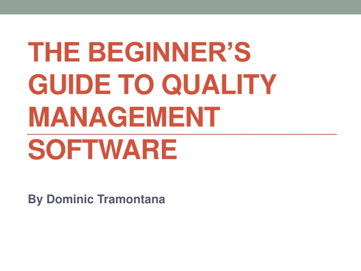 the beginner s guide to quality management software n.