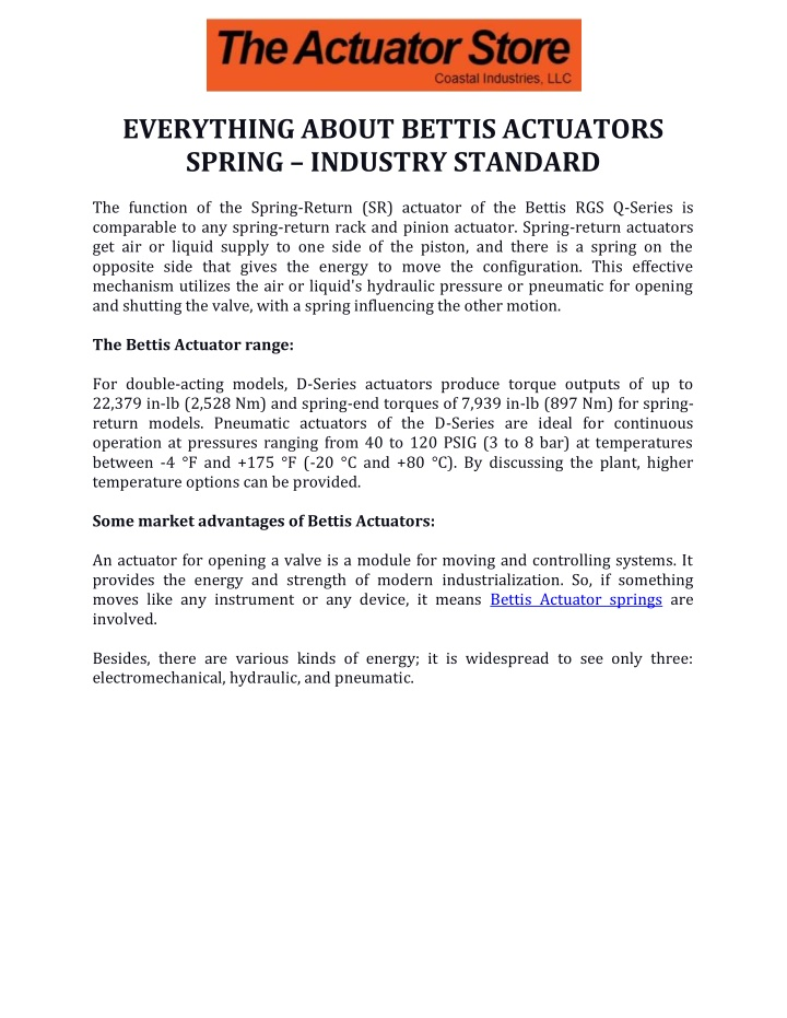 everything about bettis actuators spring industry n.