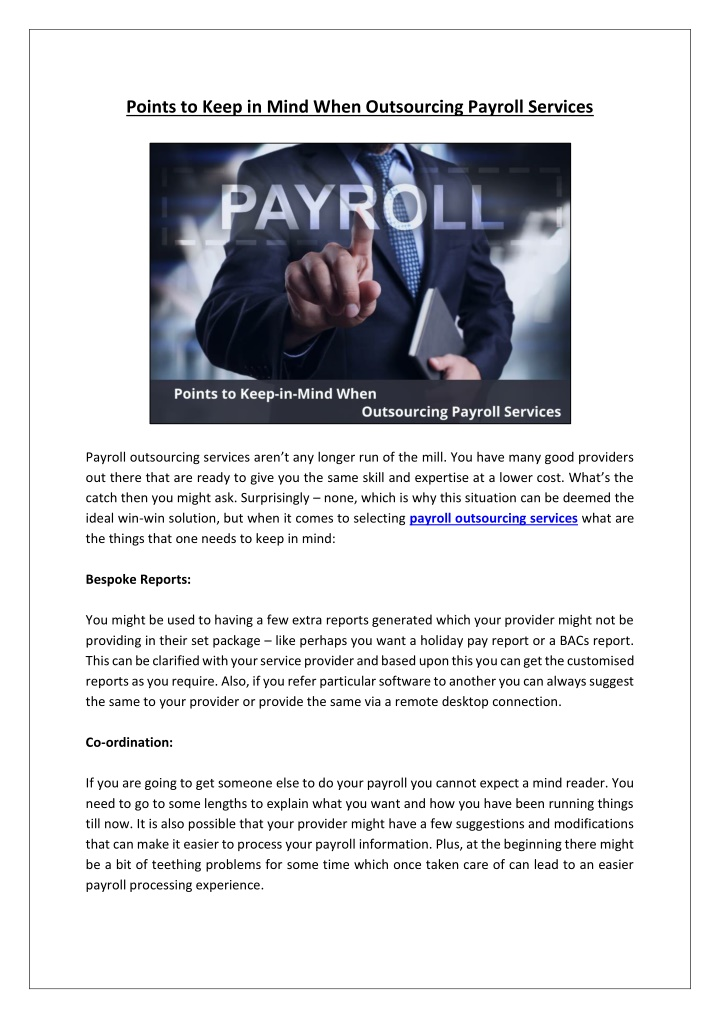 points to keep in mind when outsourcing payroll n.
