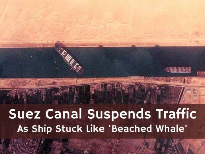 suez canal suspends traffic as ship stuck like beached whale n.
