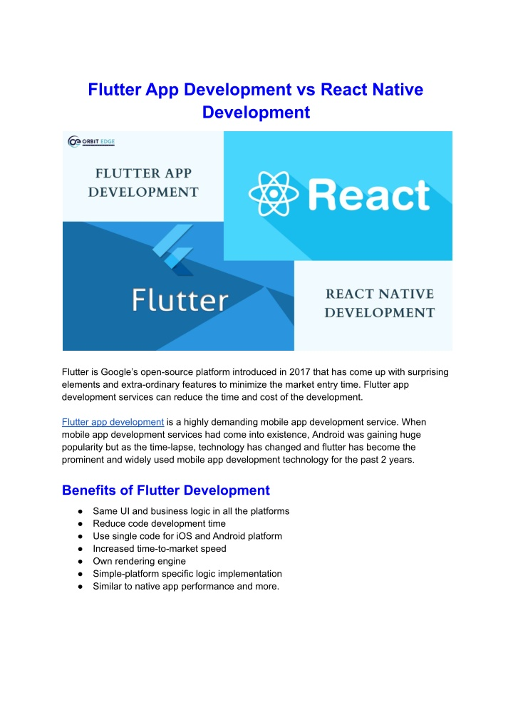 Flutter App Development vs React Native Development