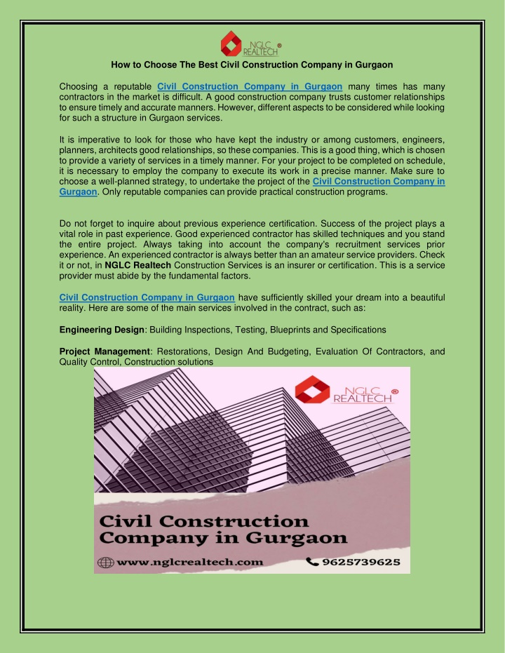 How To Choose The Best Civil construction company in Gurgaon
