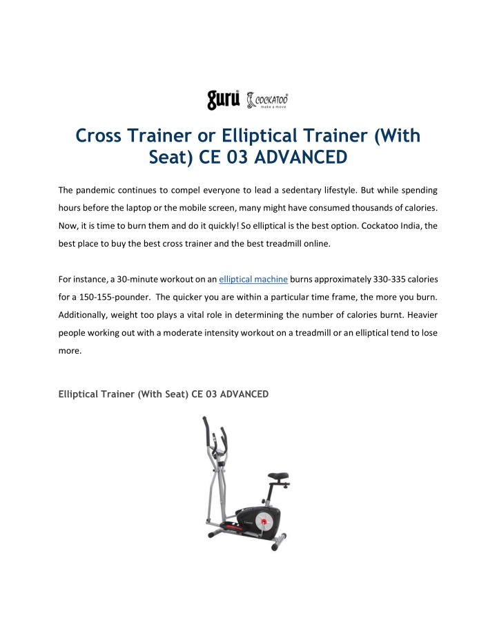 Cross Trainer or Elliptical Trainer (With Seat) CE 03 ADVANCED
