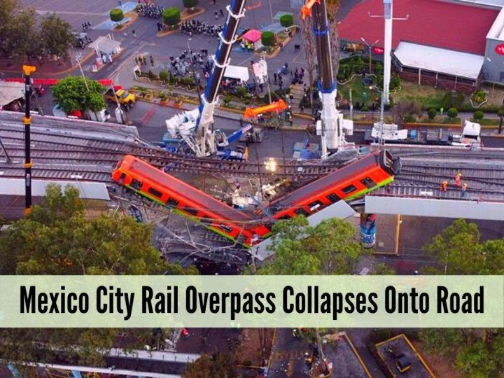 mexico city rail overpass collapses onto road n.