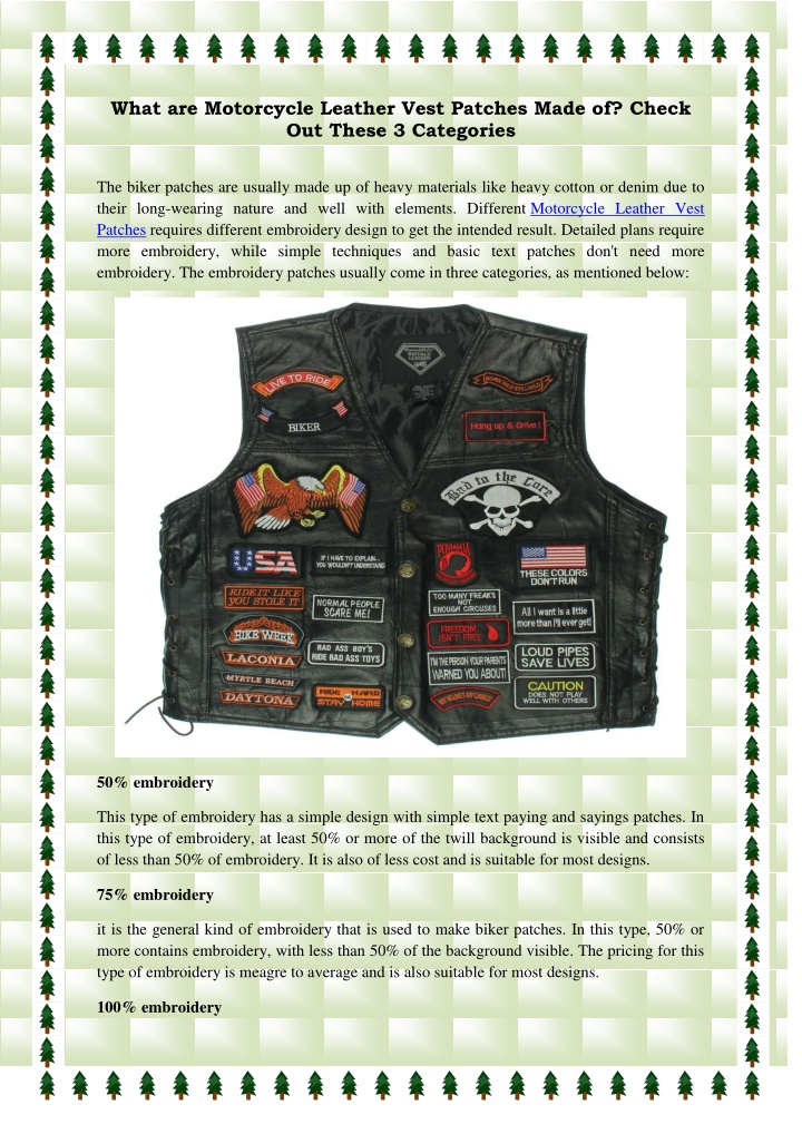 what are motorcycle leather vest patches made n.