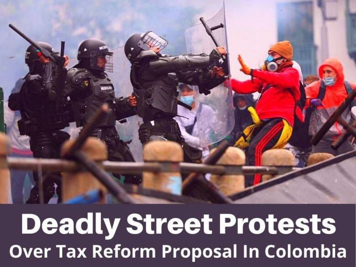 deadly street protests over tax reform proposal in colombia n.