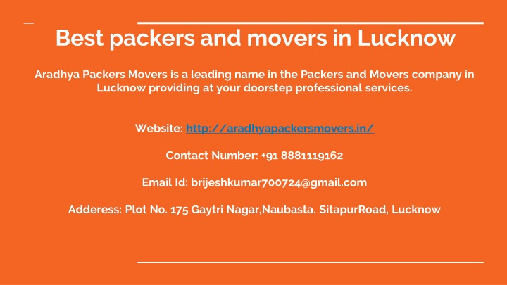 best packers and movers in lucknow aradhya n.