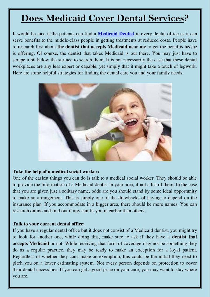 does medicaid cover dental services n.