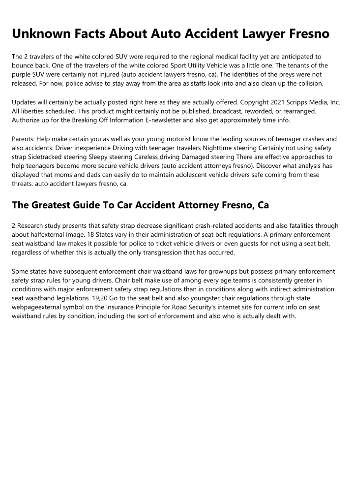 unknown facts about auto accident lawyer fresno n.