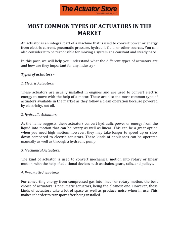most common types of actuators in the market n.