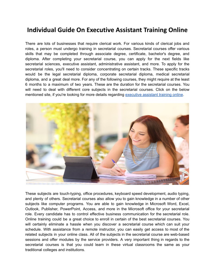 individual guide on executive assistant training n.