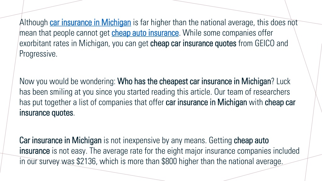 PPT - WHO HAS THE CHEAPEST CAR INSURANCE IN MICHIGAN ...