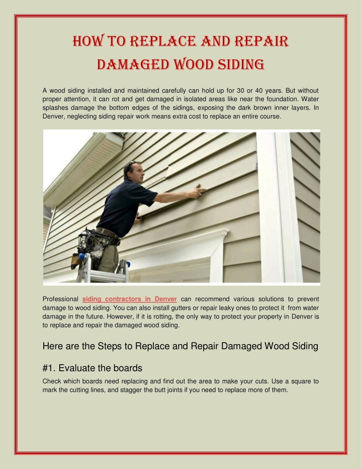 How to Replace and Repair Wood Siding