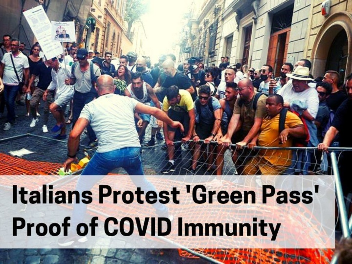 italians protest green pass proof of covid immunity n.