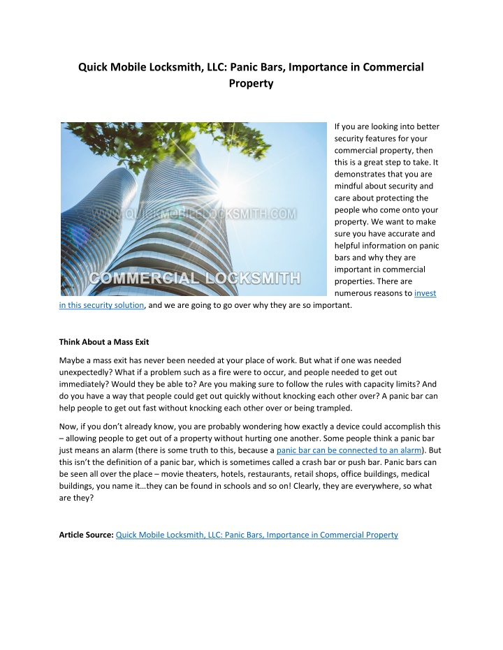 PPT - Panic Bars, Importance in Commercial Property ...