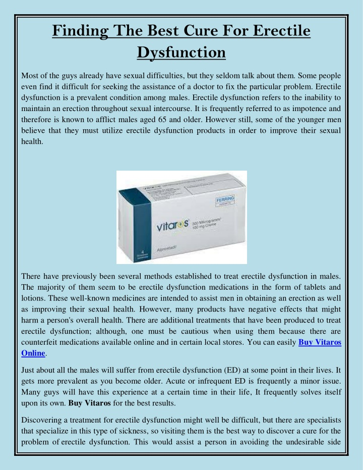 finding the best cure for erectile dysfunction n.