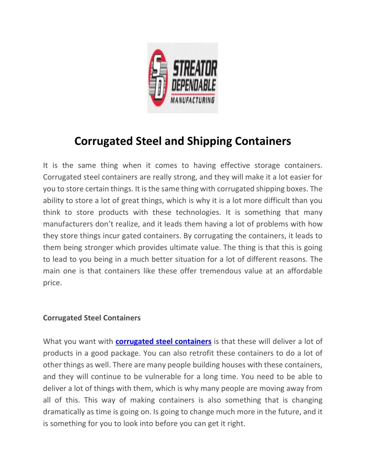 corrugated steel and shipping containers n.