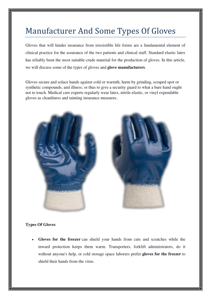 manufacturer and some types of gloves n.