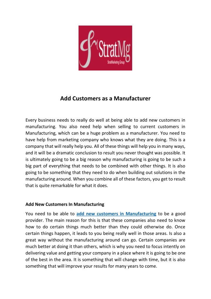 add customers as a manufacturer n.