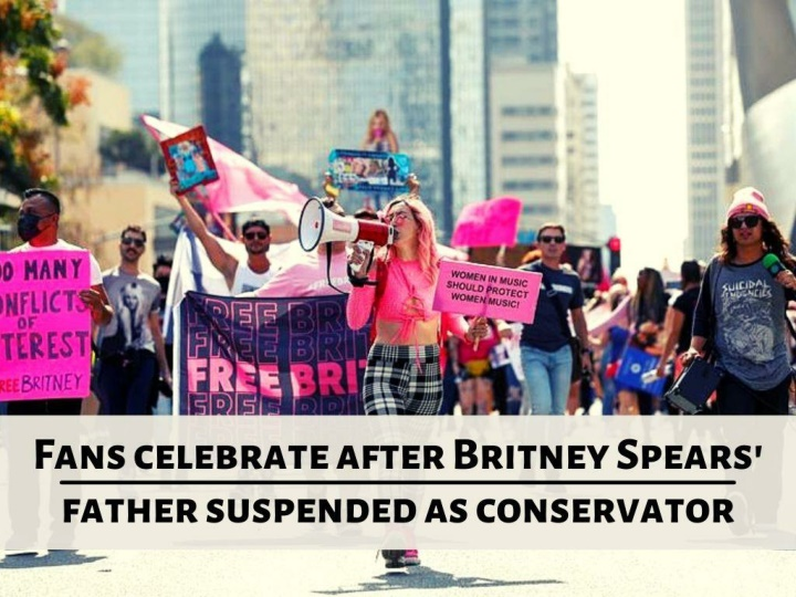 fans celebrate after britney spears father suspended as conservator n.