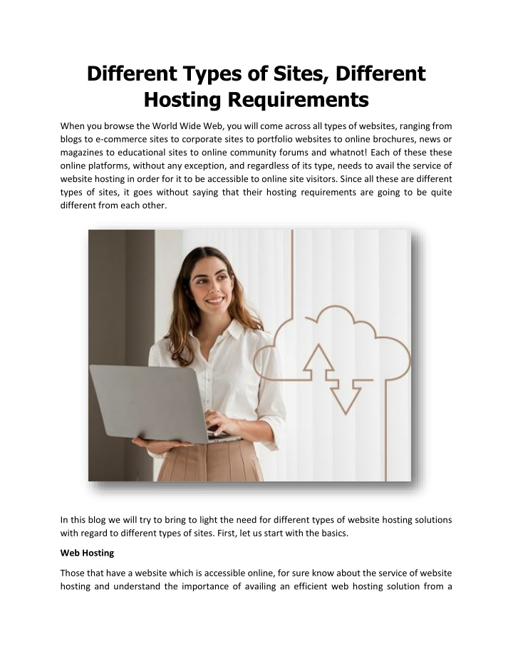 Different Types of Sites, Different Hosting Requirements