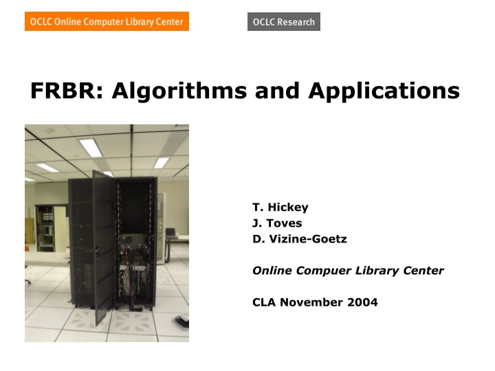 frbr algorithms and applications n.