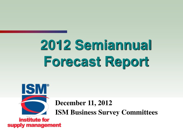 2012 semiannual forecast report n.