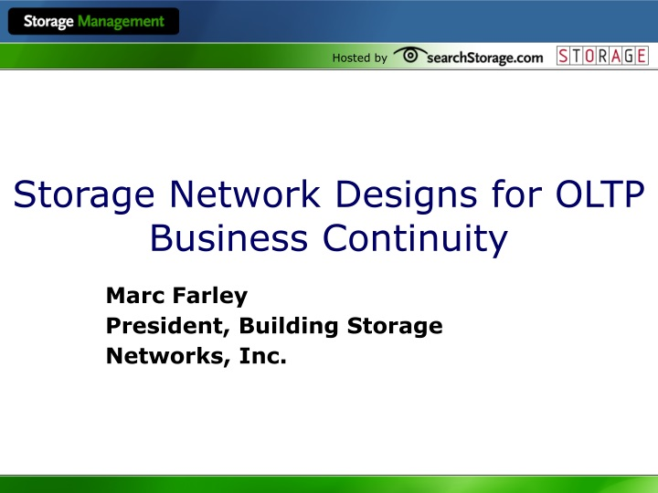 storage network designs for oltp business continuity n.
