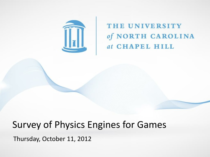 survey of physics engines for games n.