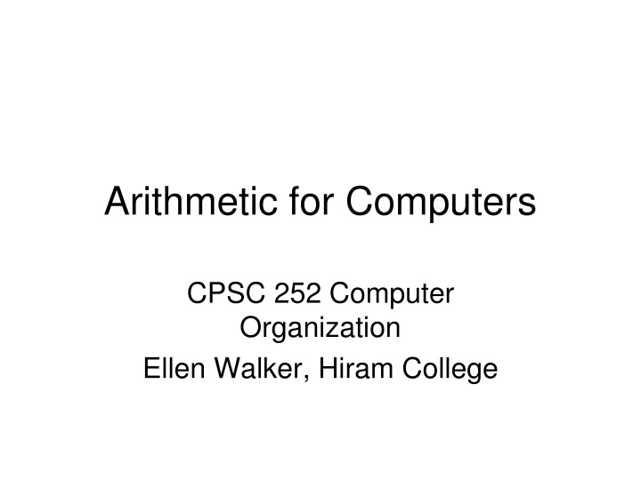 arithmetic for computers n.