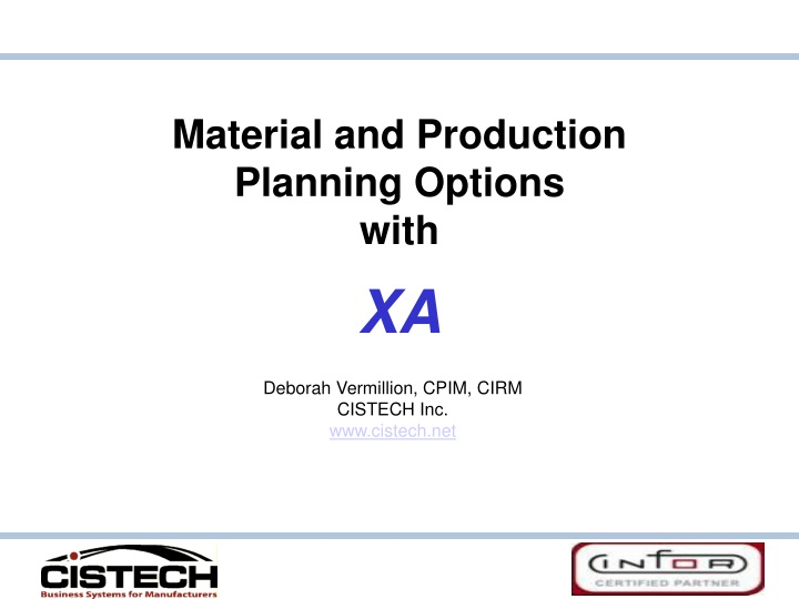 material and production planning options with xa n.